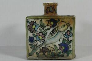 Islamische Keramikvase Rechteckig bemalt Vogelmotiv um 1900