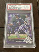 DJ PETERS 2017 BOWMAN CHROME AUTOGRAPH PURPLE SHIMMER REFRACTOR AUTO RC PSA 10