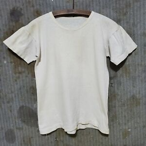 1940s Blank Tshirt Vintage USA Made Repaired 50s Athletic Sportswear