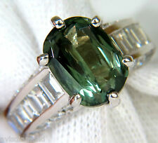 GIA FINE GEM GREEN 7.60CT NATURAL CHRYSOBERYL DIAMOND RING+