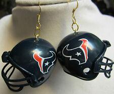 NORA WINN UNIQUE BIG 925 EARRINGS  NFL FOOTBALL  HELMET HUSTON TEXANS