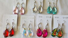 Joblot 35 Pairs Mixed Colour Glass Crystal Teardrop Earrings - NEW wholesale