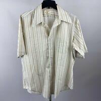 Vtg 50s 60s ARROW Kent DECTON Sanforized Button Dress Shirt Mens Beige 16.5