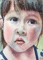 Aceo Original Watercolor Portrait Painting   Art Card  /Toddler