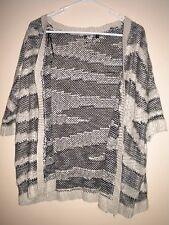 Chic A Booti - Women's Short Sleeve Dark Blue & Grey Knit Cardigan. Size - M.
