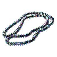 1X( Rainbow Roundel Hematite Stone Loose Bead 6mm Strand HOT M9T5)