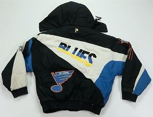 Rare Vintage PRO PLAYER St. Louis Blues Color Block Puffer Jacket 90s Youth XL