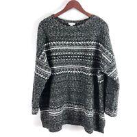 J. Jill Black & White Knit Woven Sweater Top Women's 2X Cotton Career Casual