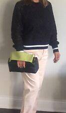 Authentic Prada Black Purse Handbag Green Wide Handle Lux Calfskin Leather