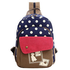 Woman Backpack School Bag Casual Polka Dot College Backpack For Girl, Blue BT