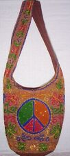 Embroidered PEACE Sign HOBO SHOULDER BAG Tie Dye Hippie Purse Boho Bohemian