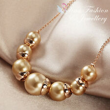 18K Rose Gold Plated Delicate Simulated Brown Pearl Strand/String Necklace