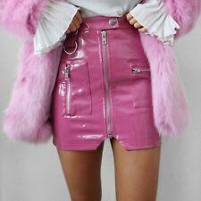 Women Sexy PVC Leather Short Mini Pencil Skirt Zip Shiny Punk Black Pink Fashion