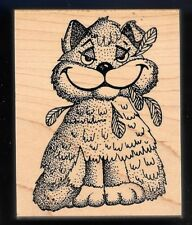CAT BIRD FEATHERS in MOUTH smile Nature STAMPA BARBARA 1993 Medium Rubber Stamp