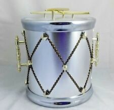 Drum Ice Bucket Vintage Box Japan Gold Silver Tone Snare Music Cooler Bar Retro