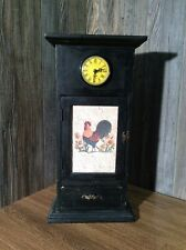Retro Wood Clock Case With Drawer And Door, Rooster Theme Works Fine F10