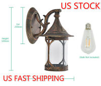 Vintage Outdoor Lantern Sconce Porch Lamp Retro Wall Light Fixture Solar Sensor