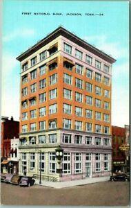 Jackson, Tennessee Postcard FIRST NATIONAL BANK Street View KROPP Linen c1940s