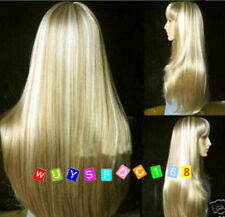 Fashion long blonde straight hair wigs+wig gift