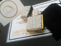 24ct Gold Plated Diamante Crystal Refillable Petrol Flip Top Lighter + Gift Bag