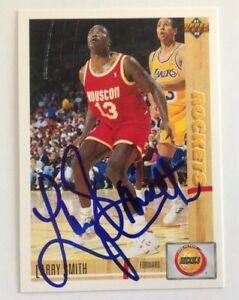 Larry Smith Hand Signed 1991 Upper Deck Card Houston Rockets