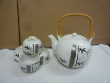 japan OMC black white porcelain tea set 4 cups and teapot