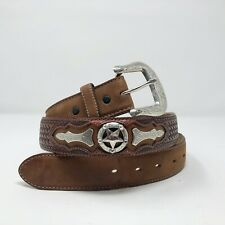 Justin Western Belt Men Size 44 Brown Leather Tooled Basketweave Odessa Star