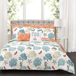 Lush Decor Blue and Coral Coastal Reef Quilt-Reversible 7 Piece Bedding Set with