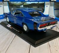 Official 1969 Dodge Charger R/T Blue Maisto 1:18 Scale Diecast Model Car New