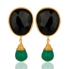 Green And Black Onyx Gemstone Dangle Earrings 925 Silver Adorable Jewelry
