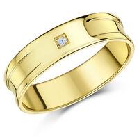 9ct Gelbgold Diamant Set Flach Hochzeit 6mm Band