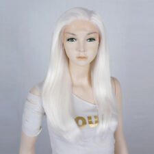 20 inches Long Women Wavy White Heat Resistant Lace Front Hair Wig