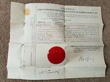 VERY RARE ANTIQUE GENUNIE NATURALISATION ACT PARLIAMENT CERTIFICATE 1897