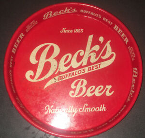 Vintage Beck's Beer Buffalo's Best Since 1855 Metal Beer Tray, Buffalo, NY