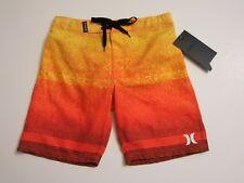 NWT Hurley Boys 6 Yellow Orange Stripe Adjustable Waist Board Shorts
