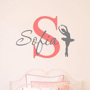 Personalised name wall sticker monogram two tone girls childrens nursery dance