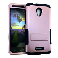 For Alcatel One Touch Fierce 4 -HYBRID KICKSTAND ARMOR SKIN CASE ROSE GOLD BLACK