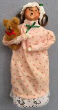 Byers Choice Girl in Flannel Nightgown & Cap w Teddy Bear Waiting for Santa Mint