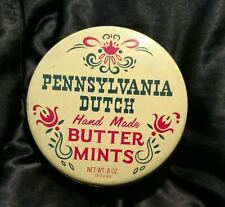 Vintage Pennsylvania Dutch Hand Made Butter Mints Tin Advertising Collectible