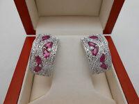Gorgeous 14k Solid White Gold Natural Ruby & Diamond Earrings 2Ctw Omega Backs