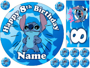 """STITCH INSPIRED 6"""" / A3 COSTCO PERSONALISED EDIBLE ICING CAKE TOPPER"""