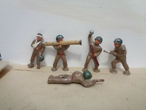 Manoil,  lot of 5 lying down, wounded vintage metal toys bazooka guns, Barclay