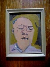 STERLING STRAUSER Listed Poconos Artist AVANT  GARDE Self PORTRAIT PAINTING 1964