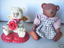 1 Resin Unlimited Shenny Enterprises Bear & 1 Brown Fabric Dressed Bear Figurine