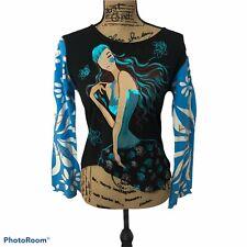 Custo Barcelona Long Sleeve Hippy Girl Floral Top Asymmetrical Hem Sz 3/M NWT