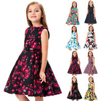 6~12Years Princess Girls Vintage 50s Floral Evening Party Ball Gown Retro Dress