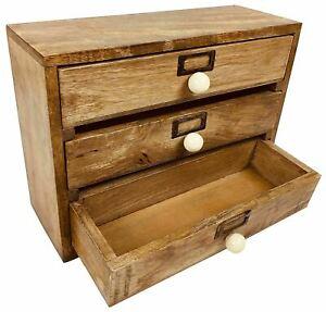 Solid Wood 3 Drawer Desktop Organiser 28cm Office Storage Cabinet, Organiser