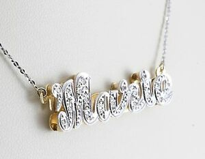 """14k Two-Tone Gold """"Marie"""" Name Mothers Diamond Pendant Necklace Nameplate"""