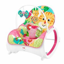 NEW FISHER PRICE INFANT TO TODDLER ROCKER WITH TOY BAR PINK RAIN FOREST