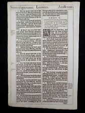 1611 KING JAMES BIBLE LEAF PAGE *BOOK OF LEVITICUS 4:1-5:8 * SINS OF IGNORANCE *